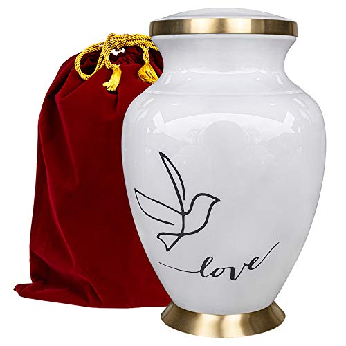 Modern Love White Large Adult Urn for Human Ashes - A Simple Elegant and Minimalistic Resting Place for Your Loved One - With Velvet Bag