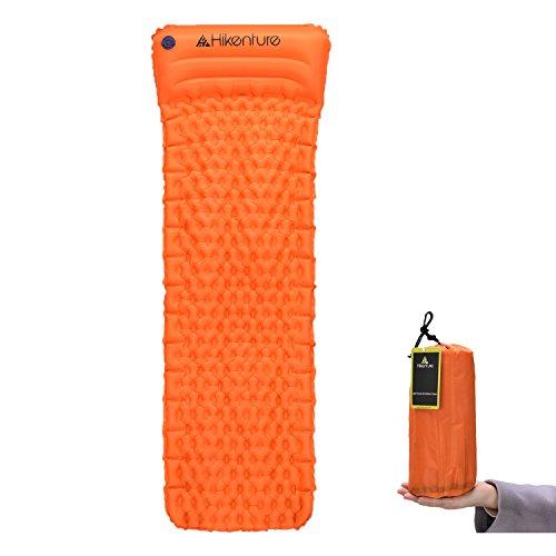 Camping Isomatte Kleines Packmaß von Hikenture™ - Ultraleichte Aufblasbare Isomatte mit Kissen - Sleeping Pad Luftmatratze für Camping, Reise, Outdoor, Wandern, Strand (Orange)