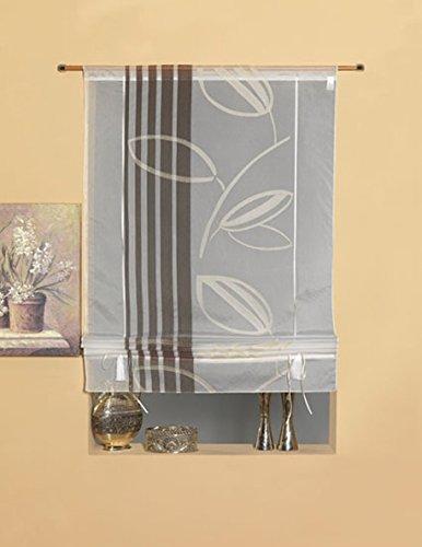 Startex 2069 60x135 cm bandjes-/vouwgordijn, zacht stromend voileweefsel, beige, 60 cm x 135 cm