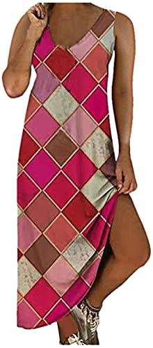 Women Midi Long Dress Vintage Graphic Print Shirt Dresses Sleeveless V Neck Summer Casual Tank Dress Vestidos