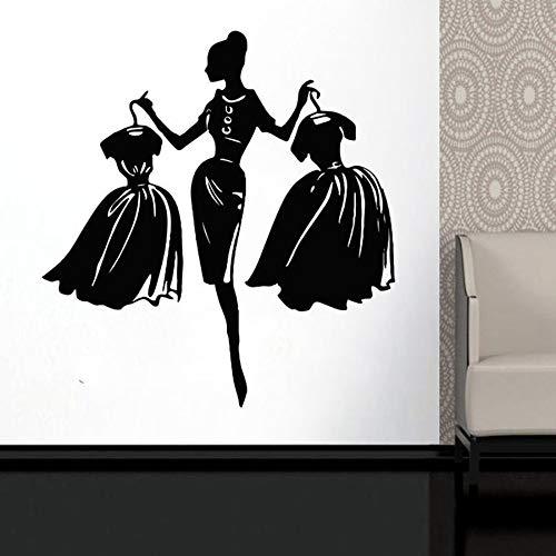Winkelen meisje muurstickers mode stijl kleding kleding dameskleding winkel decoratie vinyl stickers 48x59cm