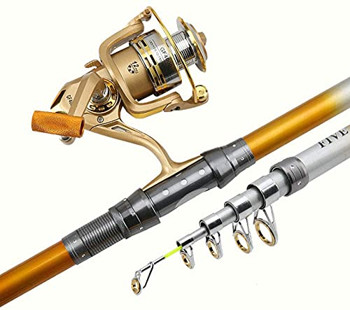 TAIDENG Pesca portátil FOD, caña de Pesca de mar Telescópica Mosca Mosca Gold 6.9FEET-11.9FEET Mini (Size : 8.9feet)