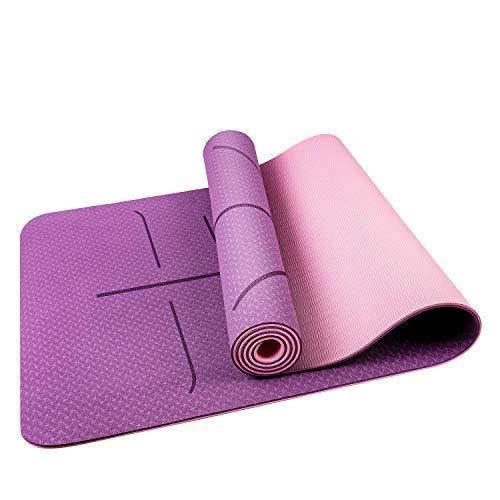 Oudort Yogamatte Gymnastikmatte rutschfeste Hochwertige TPE, ECO Yogamatte, Design Hilfslinien Fitnessmatte mit Tragegurt für Yoga, Pilates, Fitness, 183 x 61 x 0,6cm