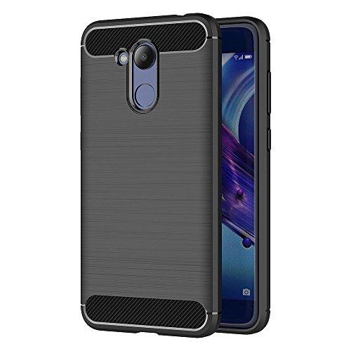 Huawei Honor 6C Pro / V9 Play Hülle, MHHQ Flexiblem Ultra Slim Carbon Fibre TPU Hülle Silikon Hybrid Schutzhülle Kohlenstoff-Fasern Tasche Slim-Fit Cover für Huawei Honor 6C Pro / V9 Play -Schwarz