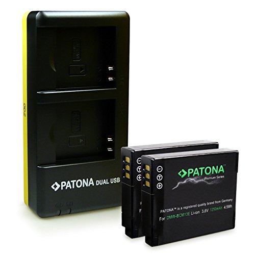 PATONA Cargador Doble + 2X Premium Batería DMW-BCM13 Compatible con Panasonic Lumix DMC-FT5 DMC-TZ40 DMC-TZ60