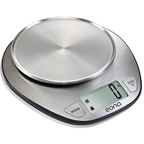 Eono by Amazon - Digitale Küchenwaage, Edelstahl-Kochwaage zum Backen und Kochen, Tara-Funktion, LCD-Display 5kg - 15 Jahre Garantie