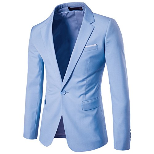 Men's Suit Jacket One Button Slim Fit Sport Coat Business Daily Blazer,Light Blue,X-Large
