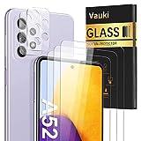 Vauki 3 Piezas Protector de Pantalla para Samsung Galaxy A52 con 2 Piezas Protector de Lente de Cámara para Samsung A52 6,5', Cristal Vidrio Templado Membrana, Anti-Arañazos - Sin Burbujas