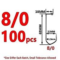ジグヘッド セット DIYジグ釣りフックのための100pcs高炭素鋼ジグフックVベンドブラックnickleの (Size : 100pcs size 8I0)