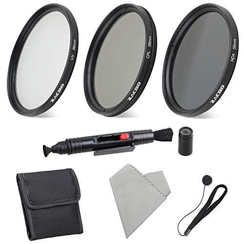 Zacro 58mm 6 en 1 Kit Filtros de Fotografía (ND2, ND4, ND8, ND16,Filtros de Accesorios) para Cámara Réflex Figital,Lapiz de Lente, Funda de Filtro, Capucha,Tapa de Lente,Paño Limpieza Incluye