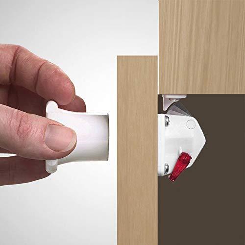 EMUCA 8929420 Cerraduras magnéticas de Seguridad para niños/bebés para armarios/cajones/Puertas + 1 Llave, Blanco