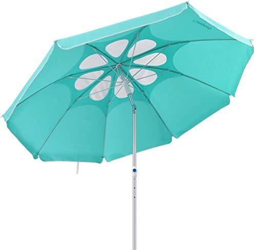 Clispeed Strandschirm mit neigbarem Aluminium-Stab, mit Lüftungsschlitzen, UV-Schutz 50+, für Sand und Outdoor-Aktivitäten