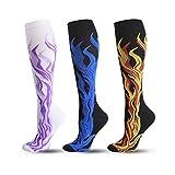 Ranvi 3 paire de chaussettes de compression pour femmes hommes(20-30 mmHg)-Idéal pour la course à pied, les voyages, le cyclisme, les femmes enceintes, les infirmières, les œdèmes,Flamme(L/XL)