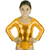 Carnavalife Mallot Ballet Danza Niña de Manga Larga y Cuello Redondo (Dorado, 10-12 años)