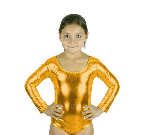 Carnavalife Maillot Ballet Danza Niña de Manga Larga y Cuello Redondo (Dorado, 10-12 años)