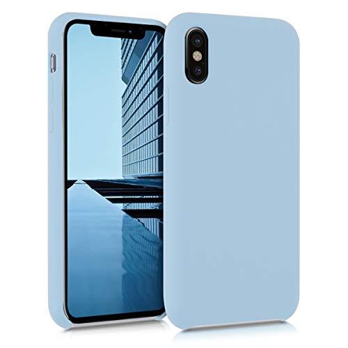 kwmobile Hülle kompatibel mit Apple iPhone X - Handyhülle gummiert - Handy Hülle in Pastellblau