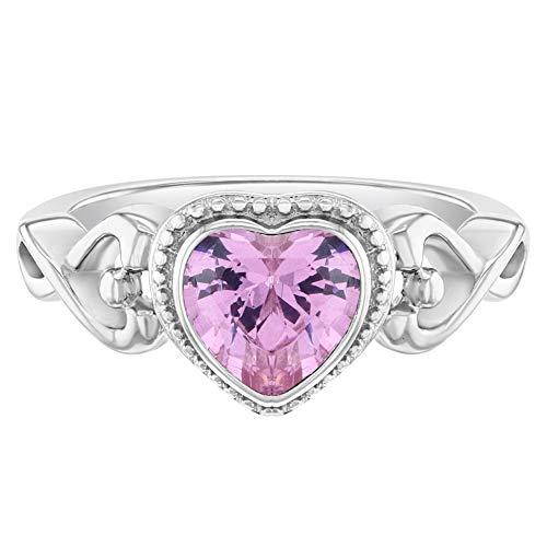 In Season Jewelry Plata Fina 925 Anillo con Corazón de Bisel de Circonita Rosa Tamaño 2 para Niñas Pequeñas