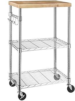 Amazon Basics Kitchen Rolling Microwave Cart on Wheels Storage Rack Wood/Chrome
