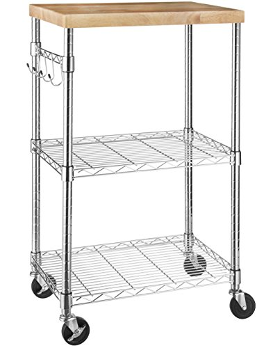 Amazon Basics Kitchen Rolling Microwave Cart on Wheels, Storage Rack, Wood/Chrome