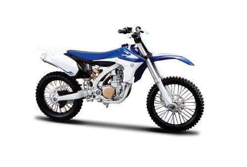 Maisto Yamaha YZ450F: Originalgetreues Motorradmodell 1:12, mit beweglichem Ständer, Federung und frei rollenden Rädern, 17 cm, blau (5-13021)