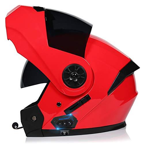 Bluetooth Integrado Modular Casco Moto Integral Para Motocicleta, Personalidad Fresca Casco Con Doble Visera, Para Montar Al Aire Libre Apto Para Cruceros Locomotora K,S=54~55cm