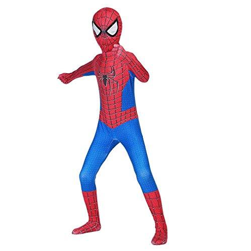 Hamiss Rot-Blaues Spider-Kostüm für Kinder, Jungen, Superhelden-Anzug, Cosplay, für Kinder, Lycra, Spandex, Halloween, Party, Bodysuit (120-130 cm rot)