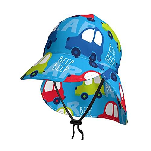 Baby Sonnenhut Niedlich Auto Cartoon Muster Sommer Klappe Abdeckung Kappe für Kleinkind Säugling Jungen Mädchen Sonnenschutz Sportlich Hut Gr. 2-4 Jahre, Schwarz