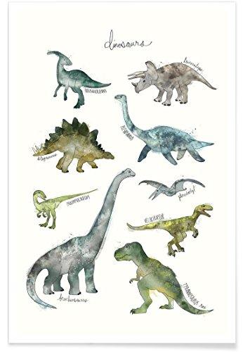 """JUNIQE® Kinderzimmer & Kunst für Kinder Dinosaurier Poster 20x30cm - Design """"Dinosaurs"""" entworfen von Amy Hamilton"""