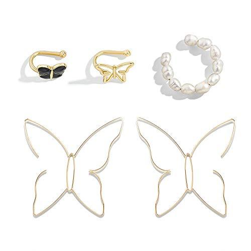 Pendientes Mariposa Pendientes De Metal Abrazaderas Para Huesos De Oreja Variedad De Conjuntos De Aleación Pendientes De Gota De Aceite Pendientes Para Niñas