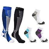 Osuter Calcetines de Compresión Hombres y Mujeres,2 Pares Medias de Compresion Deportivos con 3 Pares Calcetín para Deportes al Aire Libre