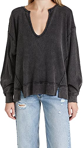Free People Women's Buttercup Thermal Top, Black, Small
