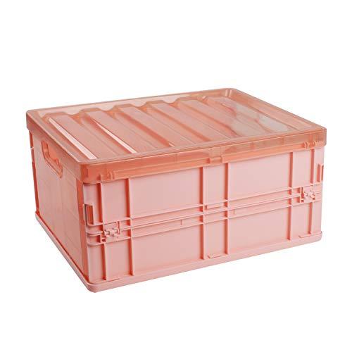 SOSTUDIO-Caja Plegable-Caja de Almacenamiento de plástico-con Tapa-para el Armario del Dormitorio, la Cocina, el baño, la Ropa,el Maletero-Asas de Transporte-Ahorro de Espacio-Rosa (10 litros)