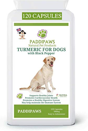 PADDIPAWS Turmeric for Dogs with Back Pepper Extract - High Strength Hip and Joint Supplement for Dogs - 120 Twist and Sprinkle Capsules - A Healthy Dog is a Happy Dog