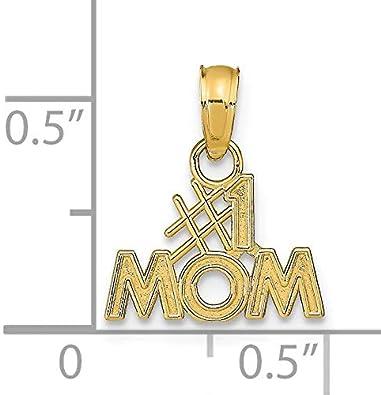 14K Gold #1 Mom Charm Pendant