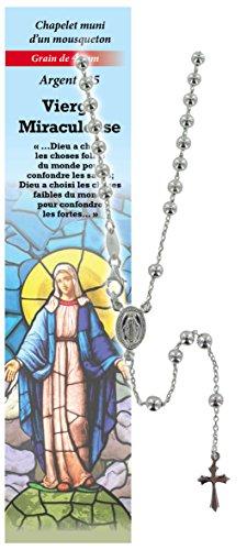 Rosario Virgen de los Milagros de plata 925 con cuentas de Ø 4 mm y una oración en francés