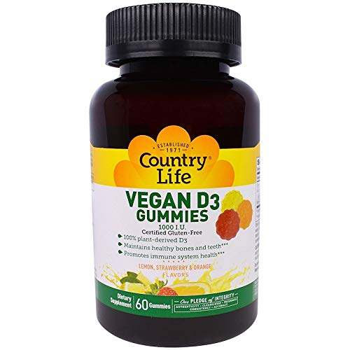 Country Life Vegan D3 Gummies - 60 Count - Lemon, Strawberry and Orange Flavors - Promotes Bone Health - Supports Immune System - Lemon, Strawberry, and Orange Flavored Gummies)