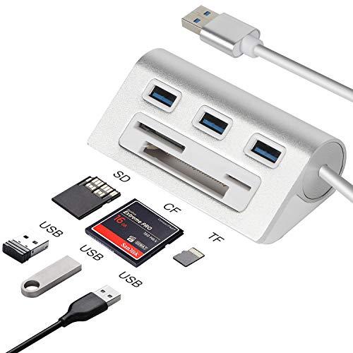 Hub USB 3.0, Adaptador de concentrador USB con 3 Puertos y Puertos para Lector de Tarjetas CF/SD/TF, USB Alimentado para Macbook, Macbook Pro, Macbook Retina, iMac, computadora portátil y Tableta