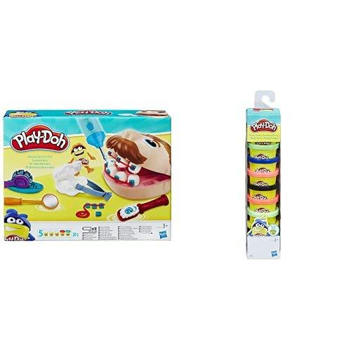 Hasbro Play-Doh, Play-Doh Dottor Trapanino, B5520Eu4 & Play-Doh- Colori della Fantasia, 10 Vasetti, 22037Eu6