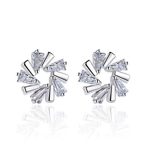 925 Sterling Silver Woman Stud Pendientes Retro Simple Cubic Zirconia Pendientes Joyería de cristal original (Color : A)