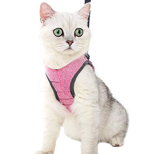Juego de arnés y correa para gatos Ultra ligero para caminar Prueba de escape Paso suave ajustable en amortiguación acolchada Chaleco para gatitos Mascotas Cachorro
