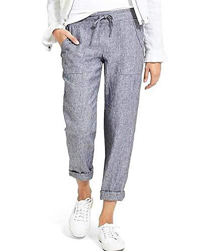 Onsoyours Pantalon Carreaux Femme Pantalon Carotte Ample Pantacourt Pants Taille Haute Casual avec Nœud Et Cordon D Gris Large