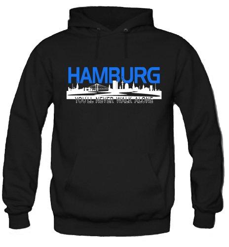 Hamburg Skyline Kapuzenpullover | Fussball | Männer | Elbe | Fan | Herrn | Hansestadt | Trikot | Ultras | Fanshirt | Rothosen (XL)