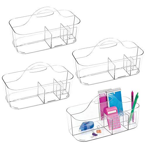 mDesign Plastic Office Storage Organizer Caddy Tote with Handle for Cabinet, Countertop, Desk, Workspace - Holds Erasable Pens, Colored Pencils, Washi Tape, Notebook - Large, 4 Pack - Clear