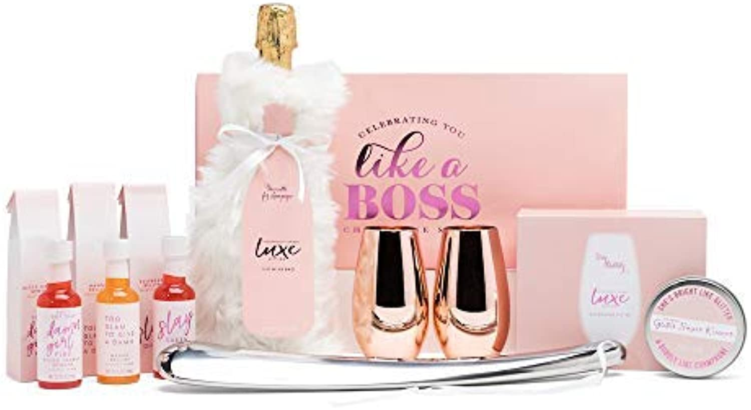 Thoughtfully Gifts, Champagne Gift Set, Includes 2 pink gold Champagne Glasses, 3 Champagne Mixers, Metal Champagne Opener, Rimming Sugar and Wine Bag
