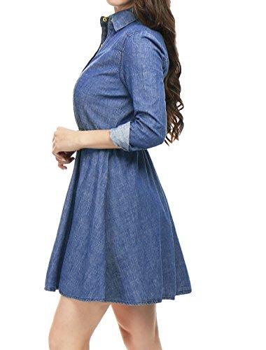Allegra K Vestido Acampanado De Camisa sobre La Rodilla De Manga Larga con Cinturón Algodón para Mujeres Azul S