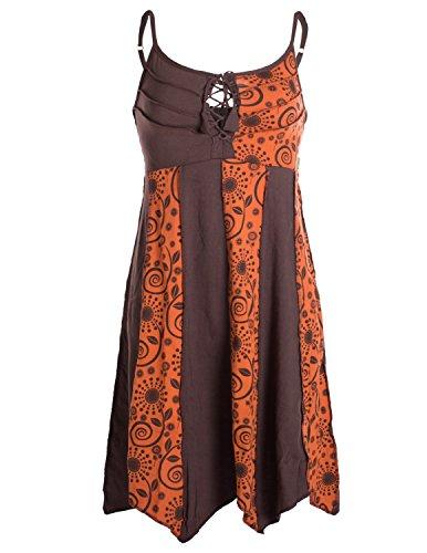 Vishes - Alternative Bekleidung - Zweifarbiges Sommerkleid Trägerkleid aus Baumwolle - Bedruckt braun-orange 34
