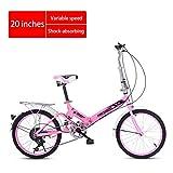 Chang Xiang Ya Shop Vélo Pliable 20 Pouces Mini vélo Absorption Vitesse Adulte Choc Scooter Ultraléger vélo de Route vélo Portable for Enfants (Color : Pink, Size : 20 inches)