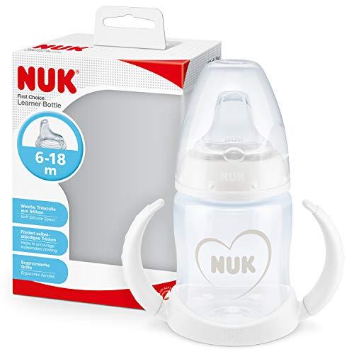 NUK First Choice+ vaso antiderrame bebé, 6-18Meses, Boquilla de Silicona a Prueba de Fugas, Anticólico, Sin Bpa, 150Ml, Gris Y Blanco, 1Unidad