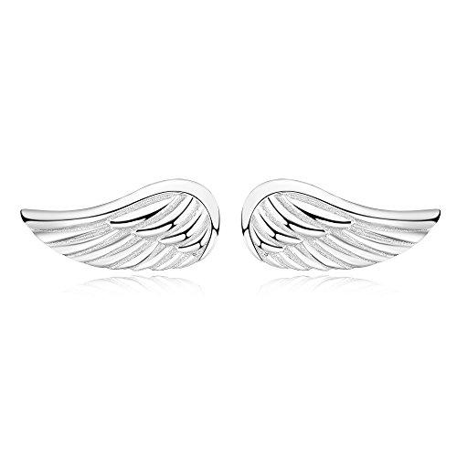 Pendientes de botón de alas de ángel Joyas de plata de ley con tachuelas de alas de ángel de la guarda para mujeres y niñas