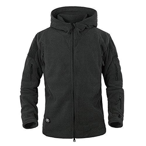ReFire Gear Men's Warm Military Tactical Sport Fleece Hoodie Jacket (X-Large, Black)